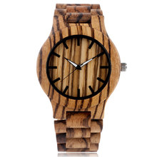 Fashion Bamboo Nature Wood Stripe Handmade Wrist Watch Fold Clasp Analog Wooden Band Men Women Strap Modern New Arrival