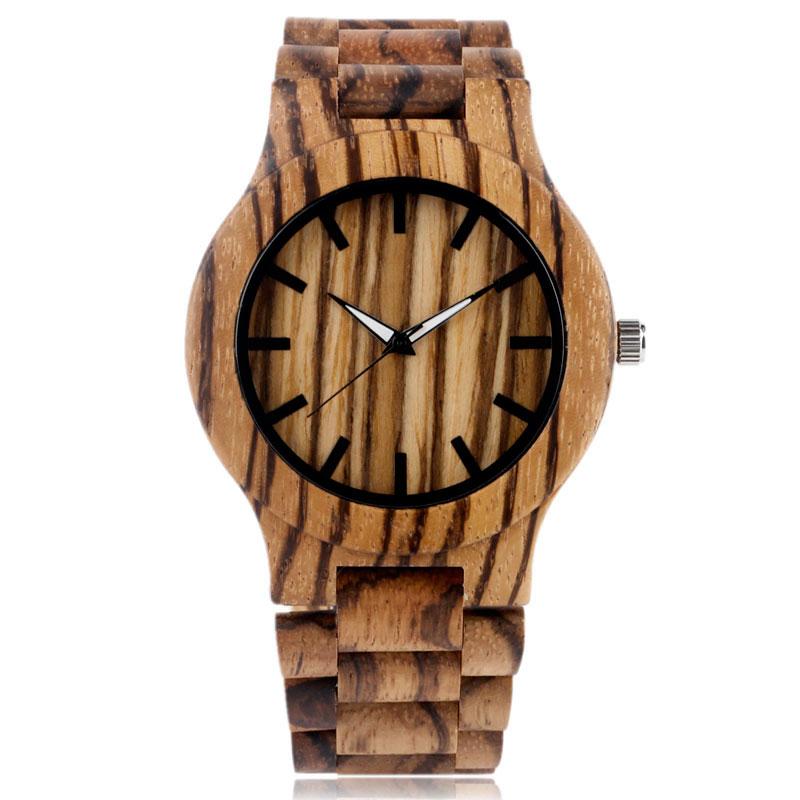 Mode bambou Nature bois rayure à la main montre-bracelet pli fermoir analogique en bois bande hommes femmes sangle moderne nouveauté