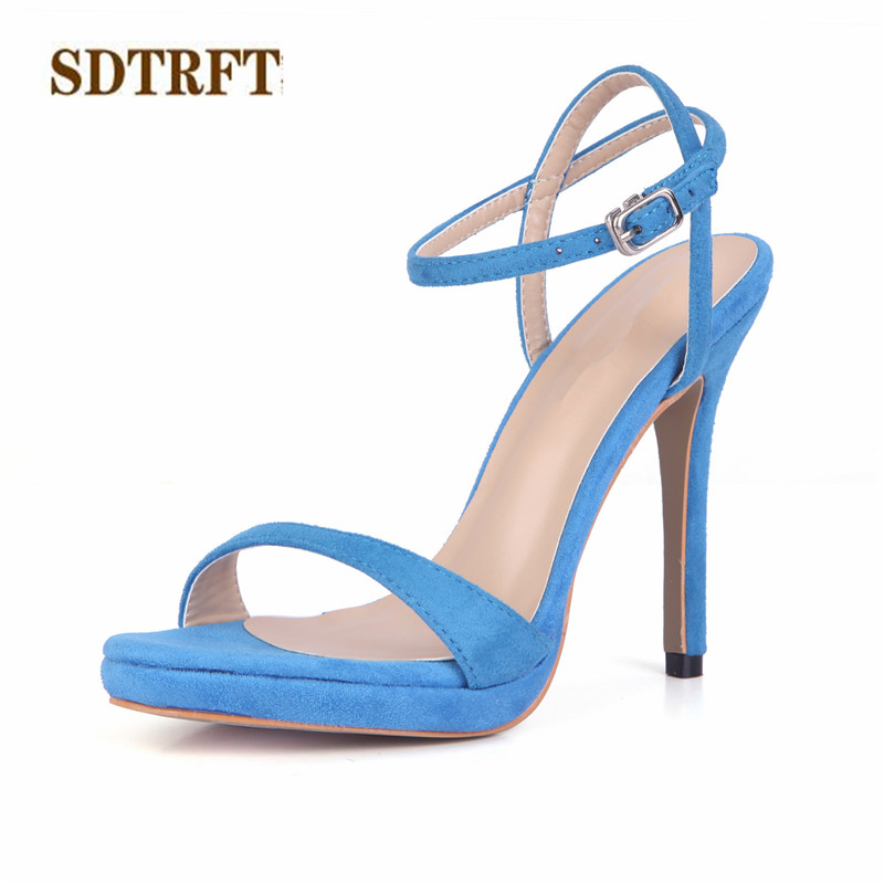SDTRFT zapatos mujer Summer Stiletto sexy sandals 12cm High-Heeled Ankle Strap shoes woman RED Suede party pumps Plus:35-42 43 llxf summer sandals plus 34 41 42 43 crossdresser sexy 19 20cm transparent high heeled shoes woman stiletto ankle strap pumps