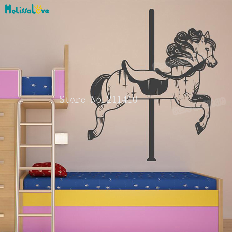 carousel horse vinyl wall sticker decals home decor for kids baby