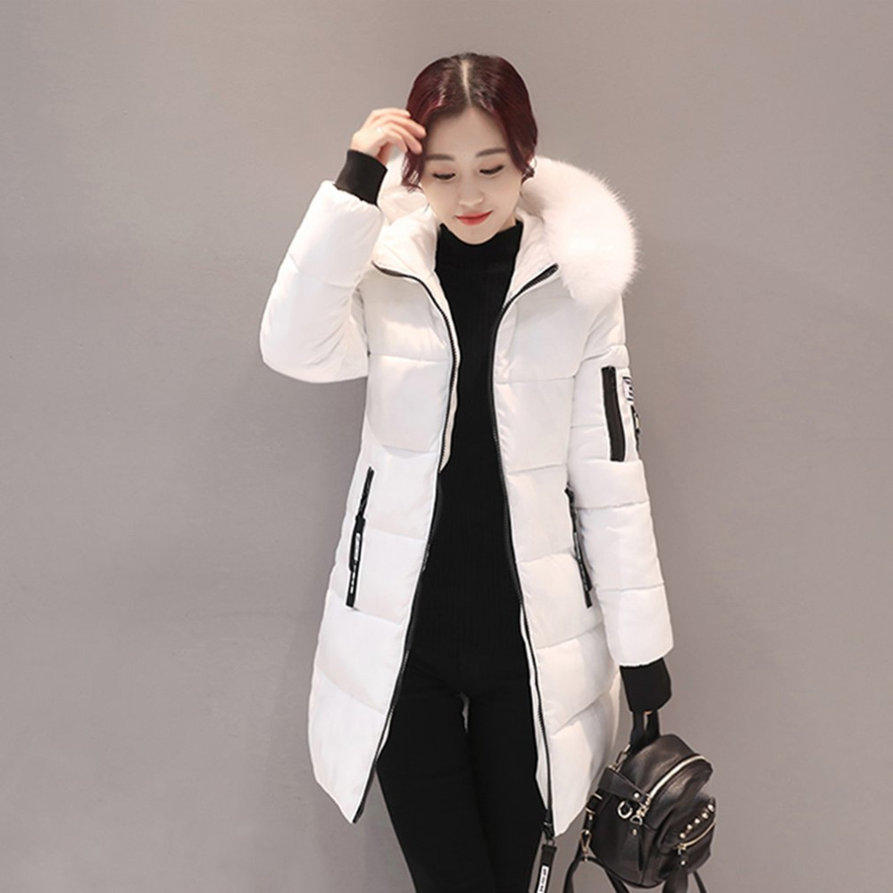 Winter Women   Parkas   Cotton Long Slim fit Light Green Fur Collar Hooded Coats Female Warm Thick Outerwears Cotton Padded Jackets