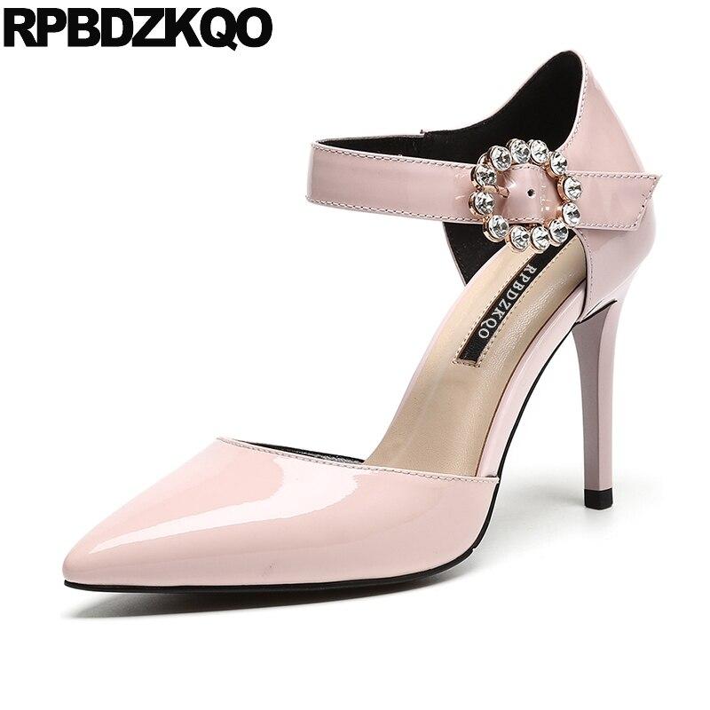 купить Pink Pumps Size 33 Ladies Genuine Leather Wedding Shoes Bridal 4 34 Rhinestone Strap Scarpin High Quality Pointed Toe Heels недорого