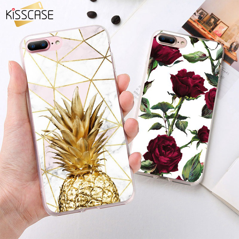 KISSCASE Case For Iphone 8 X XR XS Max Pineapple Rose Pattern Case For Iphone 5 5S SE 6 6S 7 8 Plus Back Covers Coques Fundas