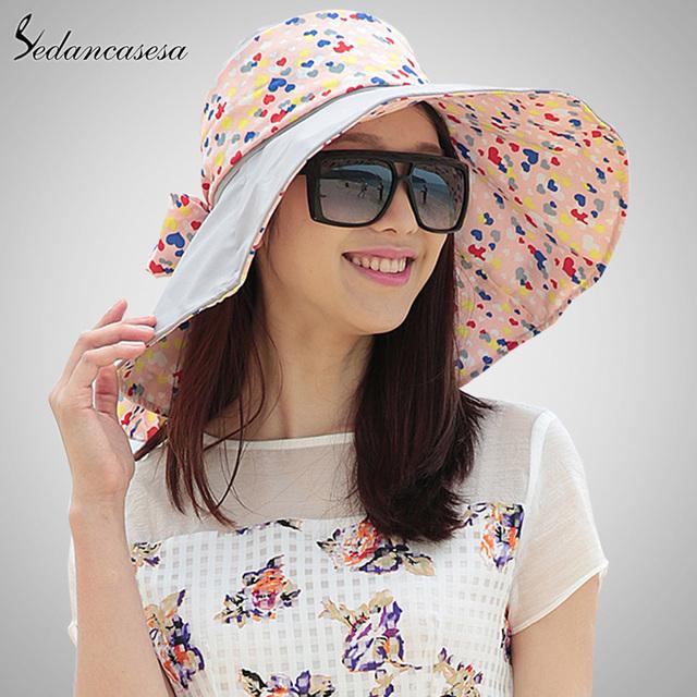 Sedancasesa 2017 diseño flor de la manera plegable de ala ancha sombrero para el sol sombreros de verano para las mujeres al aire libre protección uv sombrero de sol wg014191