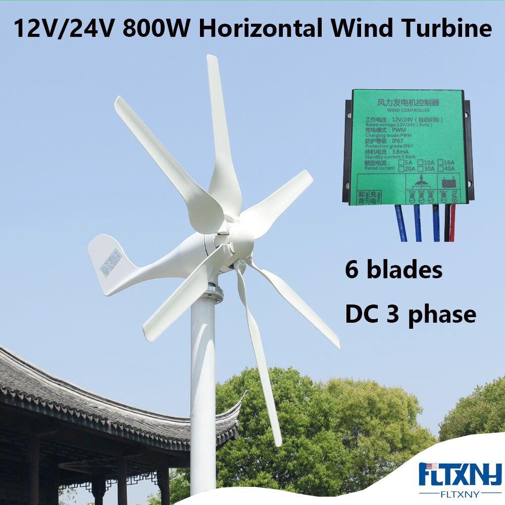 Générateur de vent 800W 48V avec 6 lames et contrôleur 48V MPPT gratuit petite éolienne pour un usage domestique