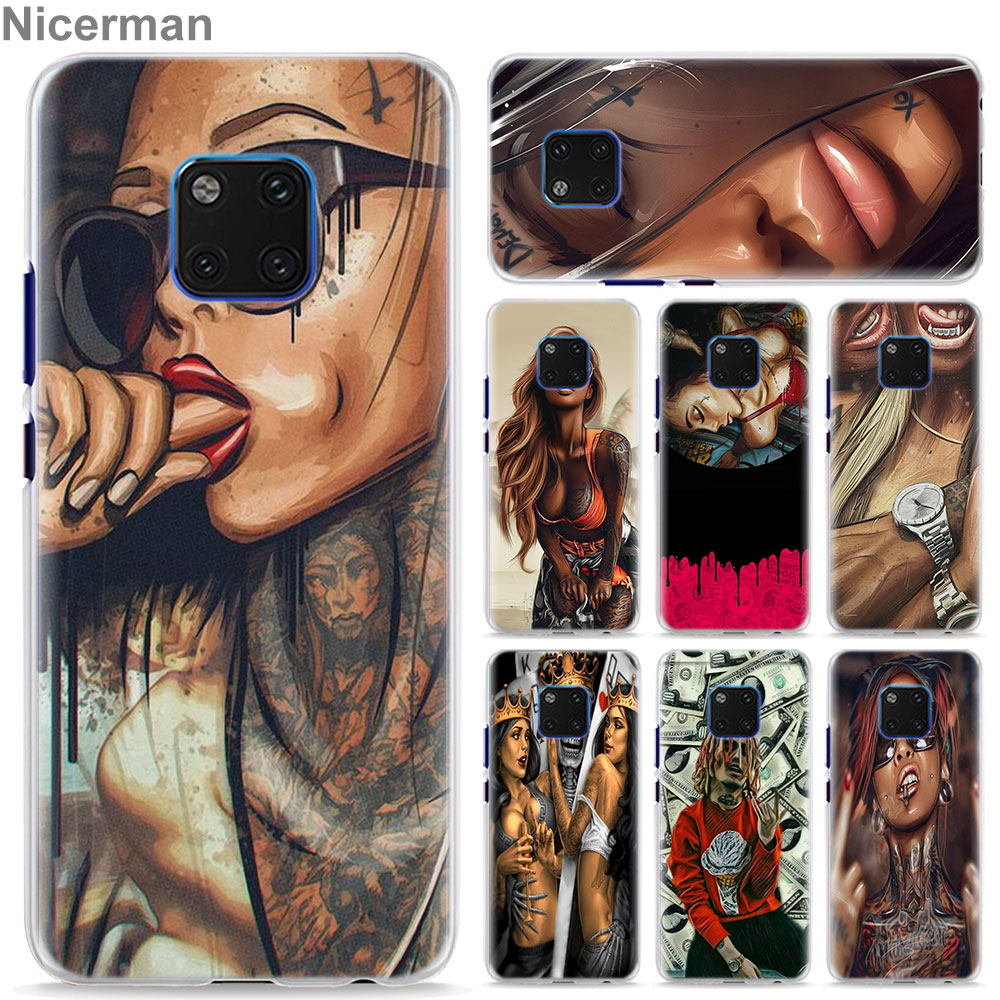<font><b>Sexy</b></font> Sleeve Tattoo Girl Phone Case for Huawei <font><b>Mate</b></font> <font><b>20</b></font> Pro 10 <font><b>20</b></font> Lite P Smart Plus P30 Pro P30 P20 Lite Cover Case Coque image