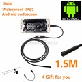 Android USB Endoscope 6 LED 7mm Lens Waterproof Inspection Borescope Tube Camera with 1.5m Cable Mirror Hook Magnet