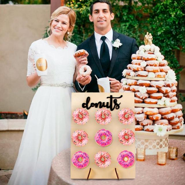 QIFU Donut Wall Holds Candy Sweet Cart Rustic Wedding Decoration Wood Wedding Table Decor Birthday Party Decor Baby Shower 1