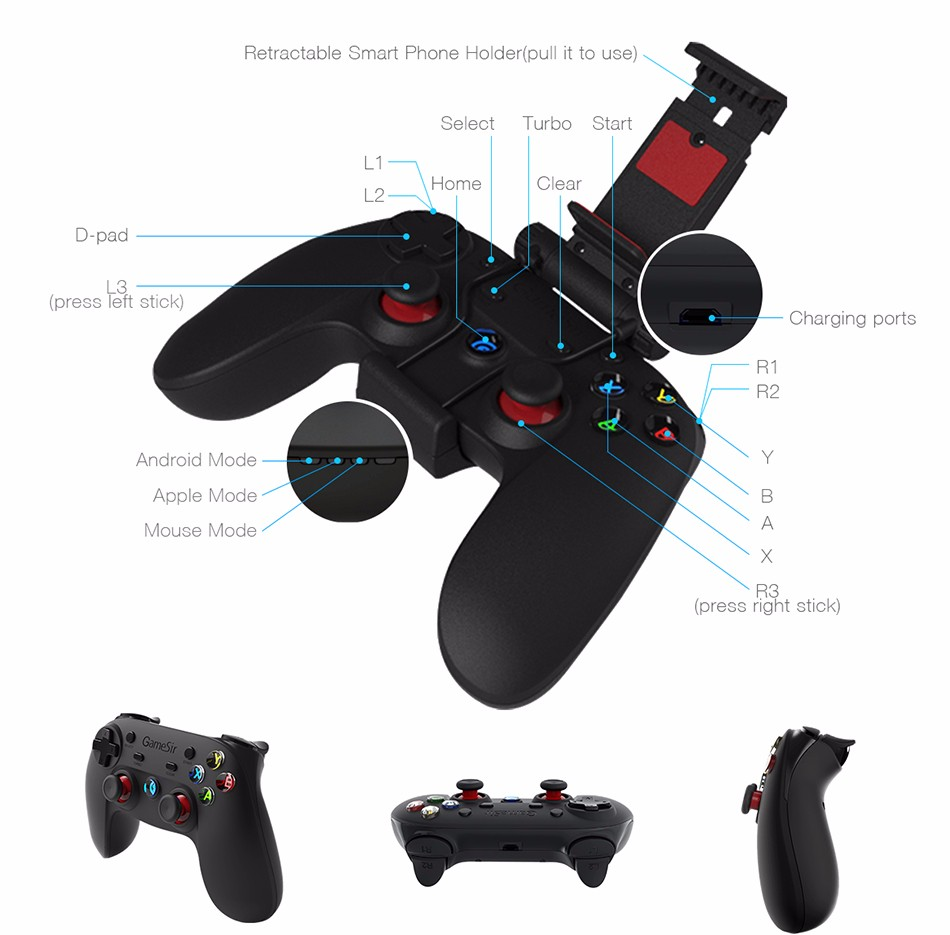 GameSir G3s Gamepad for PS3 Controller Bluetooth&2.4GHz snes nes N64 Joystick PC for Samsung Gear VR Box for SONY Playstation 2 6