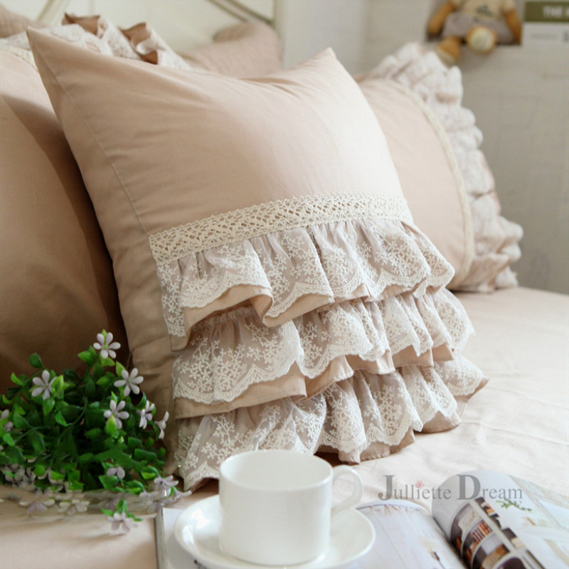 Luxury khaki European embroidery cushion cover ruffle Lace <font><b>skirt</b></font> pillow cover beauty bedding decorative pillows throw pillows image