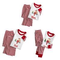Family Christmas Matching Clothes Mom Dad Children Red Striped Cotton Pajamas Cute Girls Xmas Pajamas Set