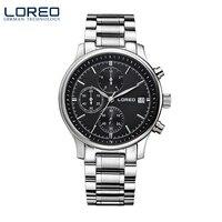 LOREO Quartz Watch Waterproof 50M Calendar Chronograph Black Stainless Steel Relogio Masculino