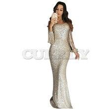 Sexy Sequin Dress Party Women Bodycon  Hollow Out Long Sleeve Maxi CUERLY de Festa LC610992
