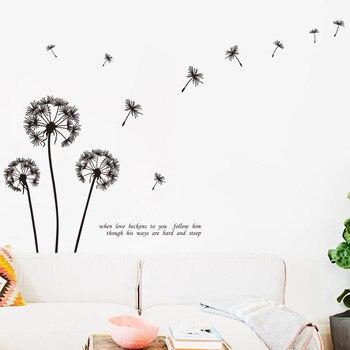 Nuevo diseño de arte de gran tamaño, decoración del hogar, diente de león, pegatina de pared de flores, hermosa calcomanía de planta extraíble para sala de estar o dormitorio