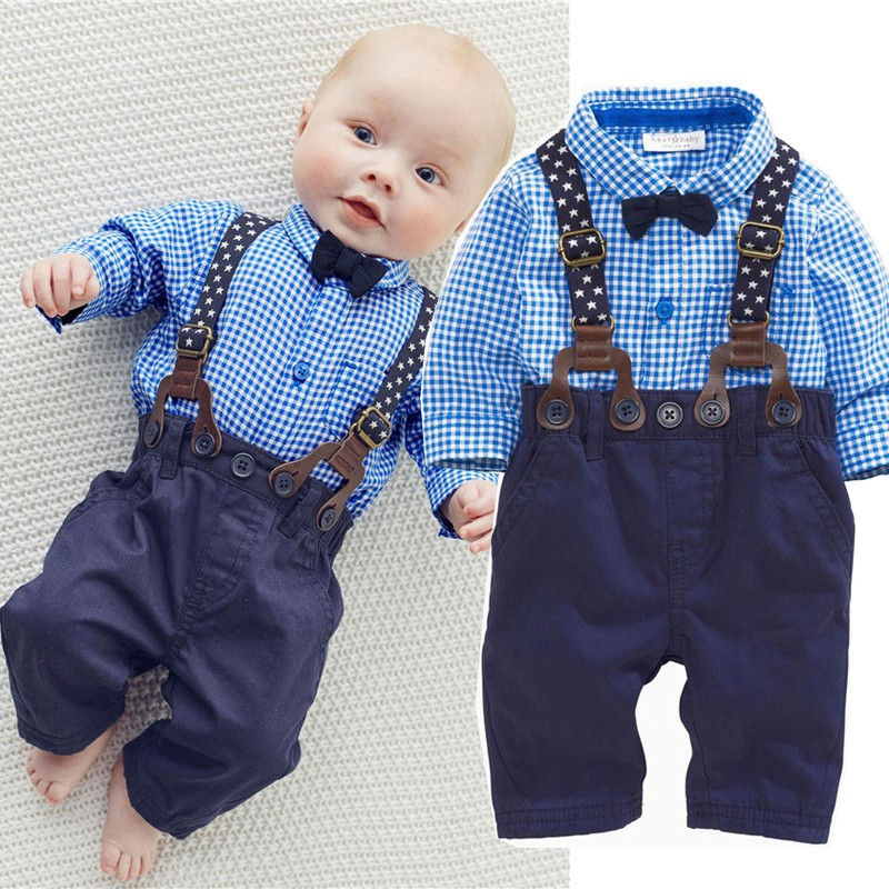 2017 new blue lattice baby clothes boy shirt with bow + casual pants boy fashion suit set new clothes 2pcs set baby clothes set boy