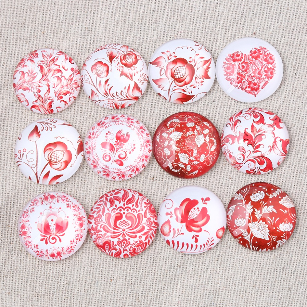 reidgaller red flower photo round glass cabochon 10mm 12mm 14mm 18mm 20mm 25mm 30mm mix diy jewelry findings for earrings