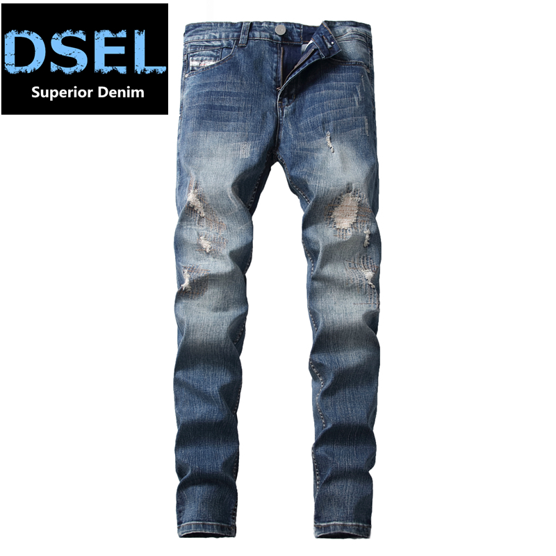 Fashion Blue Stretch Jeans Ripped Denim Trousers Slim Skinny New Famous Brand Dsel Patch Jeans Elastic Mens Biker Jeans U701 2017 fashion patch jeans men slim skinny stretch jeans ripped denim blue pants new famous brand mens elastic jeans f701