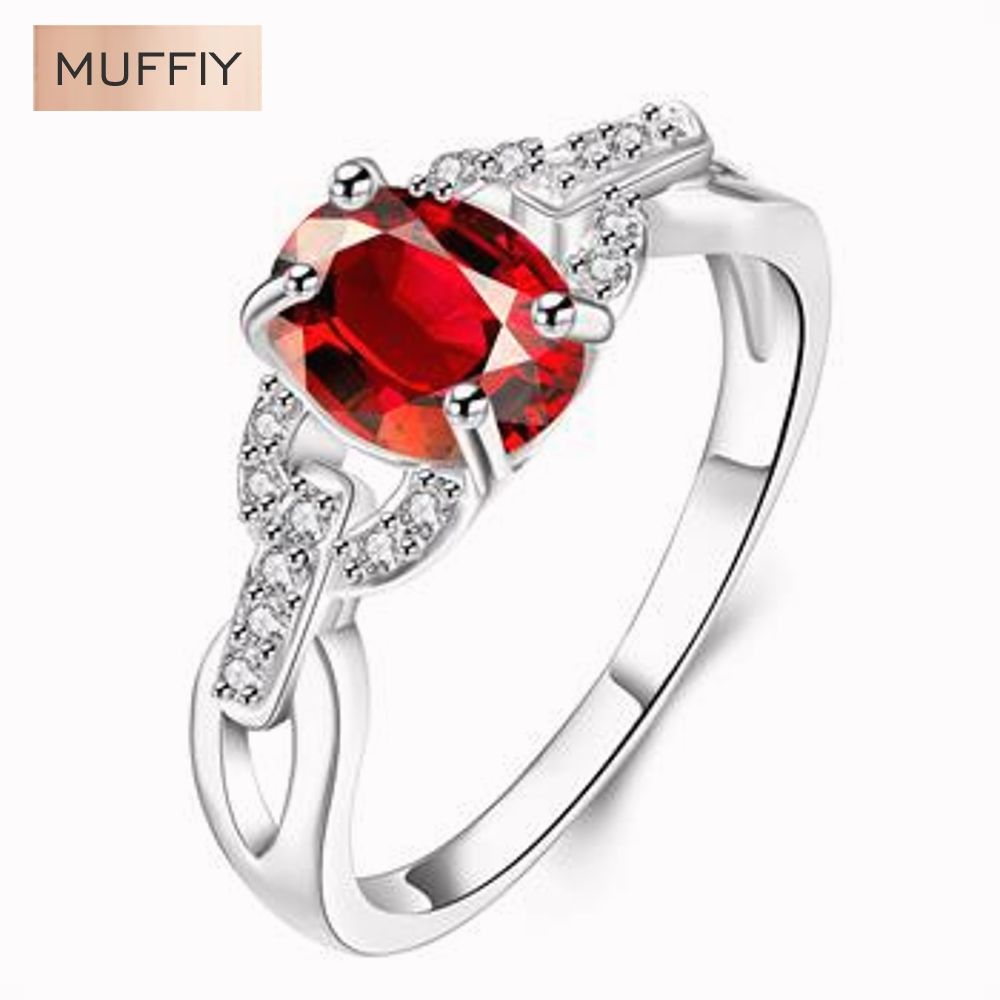 access career promotion shop for promotional access career on silver plated ring inlaid red oval zircon exquisite w round ring career silver plated crystal gift women dress access
