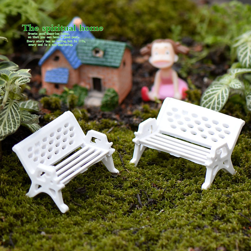 1pcs Artificial White Bench Chair Miniature Fairy Garden Home Houses Decoration Mini Craft Micro Landscaping Decor DIY Accessory