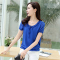 2016 Summer Female Short-sleeve Chiffon Shirt Loose Plus Size Women Ruffled Neck Blouse Summer Casual Tops Hot  Sale 31122