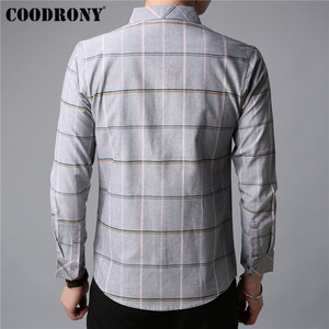 Image 4 - COODRONY Men Shirt Autumn New Arrival Long Sleeve Shirt Men Business Casual Shirts Fashion Striped Cotton Camisa Masculina 96019