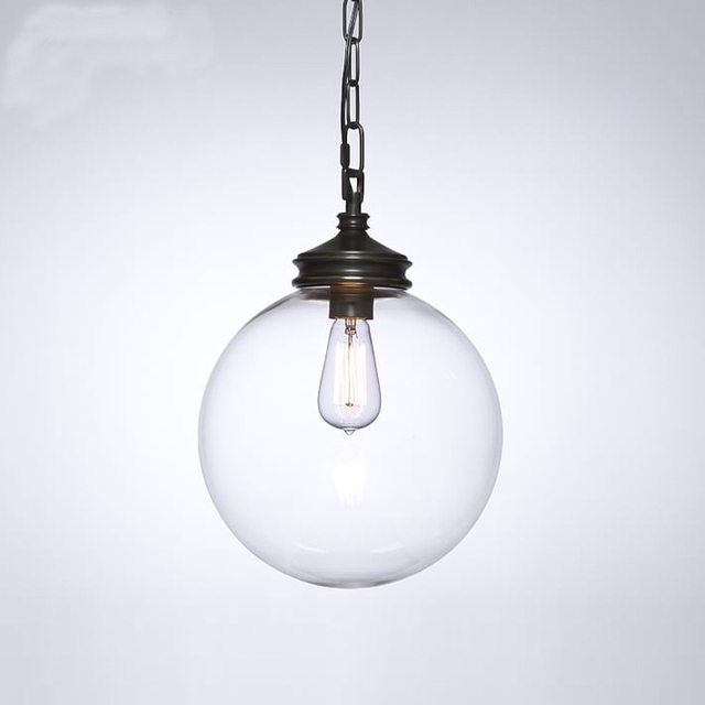 Vintage DIY Glass Ball Pendant lights Fixture Home Deco Living Room E27 Bulb Black Iron Chain & Vintage DIY Glass Ball Pendant lights Fixture Home Deco Living Room ...