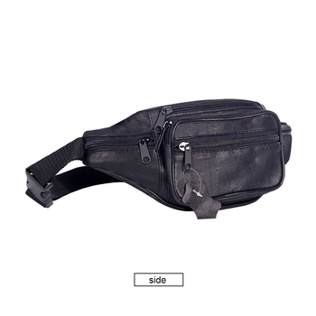 Mens Soft Leather Waist Bag Bumbag Multi-Pockets Fanny Pack Male Casual Travel Belt Bag Genuine Leather Phone Pouch Black