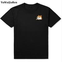 YuWaiJiaRen Brand Clothing Men Women Pocket dog Print Pattern Casual T-Shirt Solid O-Neck Short Sleeve T-Shirt EU Size M-5XL