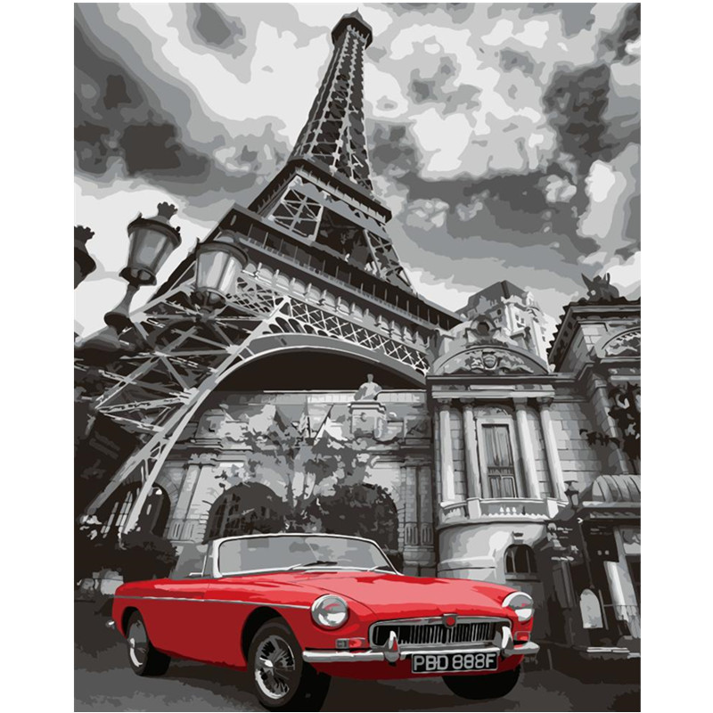 Tower Sports Car Hand Made Paint High Quality Canvas Beautiful Painting By Numbers Surprise Gift Great Accomplishment