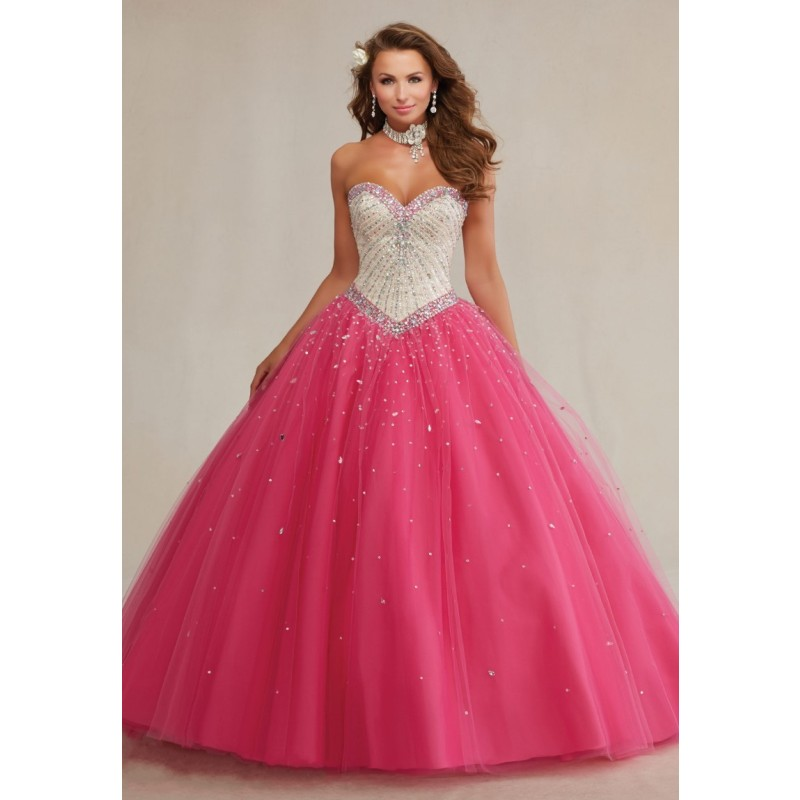 4e408903d Stunning Ball Gowns Puffy Fully Beading Crystals Corset Sparkly Sweet 16  Hot Pink Quinceanera Dresses Prom Gowns