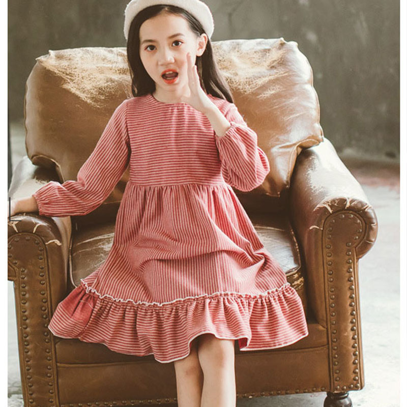 2c4b64563ca75 new 2018 ruffles children autumn winter striped princess dresses girls  cotton layered dress kids clothes teenagers dress toddler