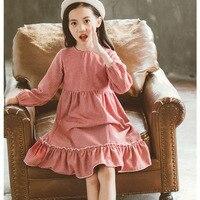 new 2018 ruffles children autumn winter striped princess dresses girls cotton layered dress kids clothes teenagers dress toddler