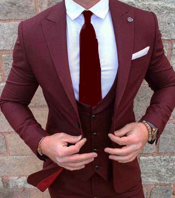 Hot Sale One Button Wine Groom Tuxedos Peak Lapel Groomsmen Mens Wedding Prom Suits (Jacket+Pants+Vest+Tie) NO:135