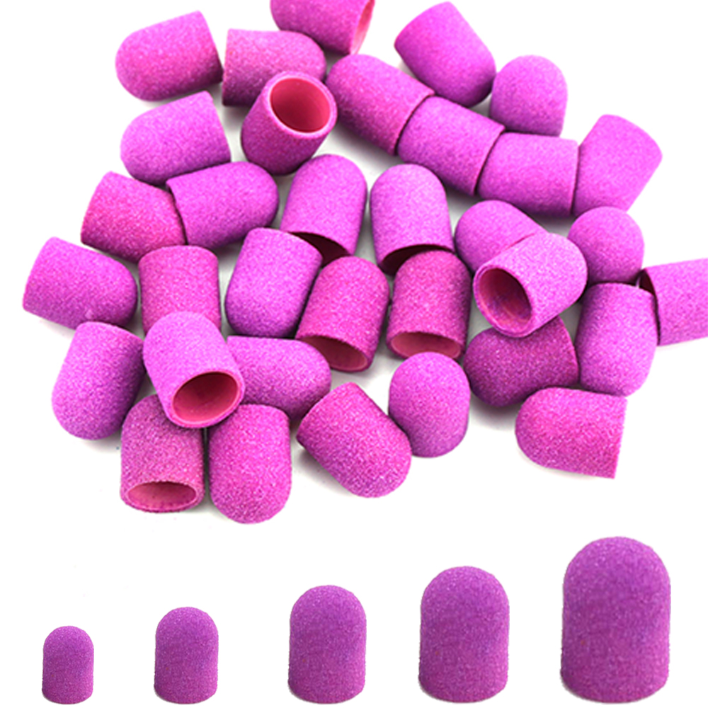 5pcs Purple Plastic Sanding Caps Electric Sand Block With Grip Pedicure Polishing Care Accessories Foot Cuticle Tools