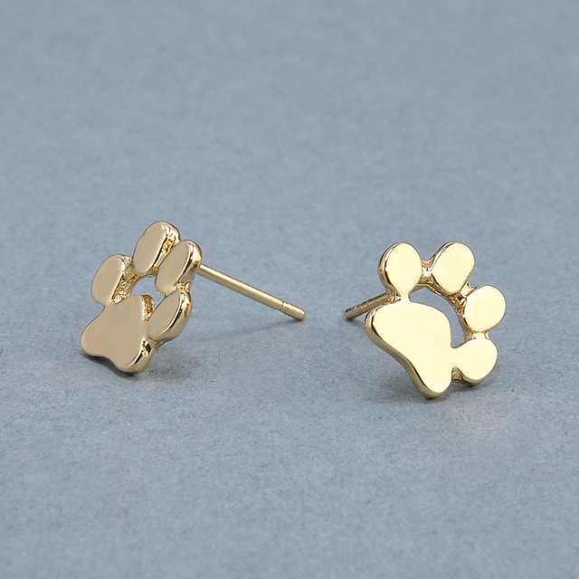 Gold and Silver Cat and Dog Paw Stud Earrings