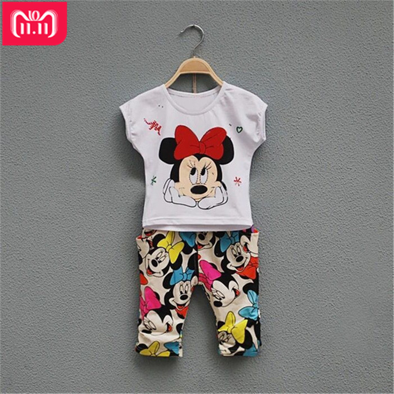 summer Baby Girls Clothing Sets Casual Minnie Children Sets pink T-shirt+ Pants Kids clothes Suit Cotton toddler girl clothing toddler girls outfits baby cotton clothes kids t shirt tops infant ruffle pants 2pcs boutique suit children s clothing sets f101