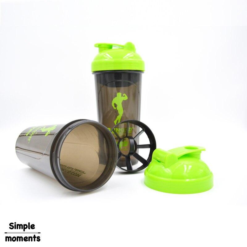 Basit yaşam Spor protein tozu sallamak fincan spor su şişesi 600 ml