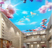3d wallpaper custom mural non-woven Peach blossom blue sky dove ceiling frescoes on the design photo wallpaper for walls 3d