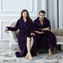 Lovers Dress for Men and Women Warm Super Soft Flannel Coral Fleece Long Bath Robe Mens Kimono Bathrobe Male Dressing Gown Robes soft flannel coral nightwear fleece lovers dress men women s warm super long bath robe mens kimono bathrobe lace up gown robes