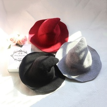 1 Piece Modern Halloween Witch Hat Woolen Women Lady Made From Fashionable Sheep Wool Halloween Party hat [available from 11 11]hat woolen hat canoe4706101