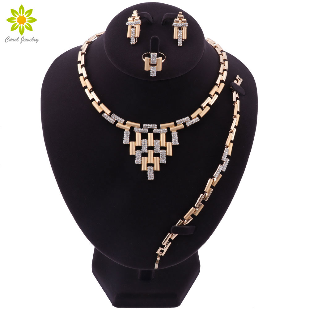 Fashion Jewelry Set Nigeria Dubai Gold-color African Bead Necklace Sets Wedding Jewelry Set African Bridal Wedding Gifts