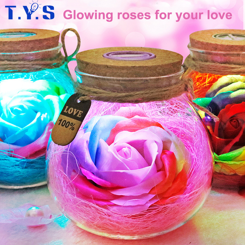 LED Colorful Flower Night Light RGB Creative Romantic Bottle Immortalized Rose Bulb Valentine's Day Christmas Holiday Lighting