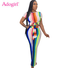 Adogirl Colorful Stripe Casual Two Piece Set Front Tie Short Sleeve Women T Shirt Crop Top Straight Pants Fashion Female Outfits