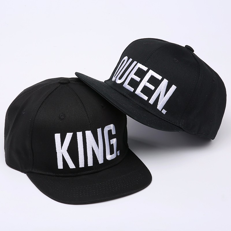 "Embroidered ""King and Queen"" Snapback Cap Set - Black Cap with White Embroidered Letters"