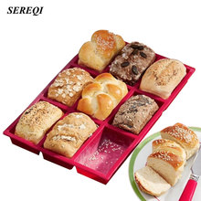 SEREQI Silicone 9 Holes Bread Baking Pan Tray Chocolate Cake Mould Dough Pastry Shaper Mould Kitchen Bakery DIY Baking Gadget