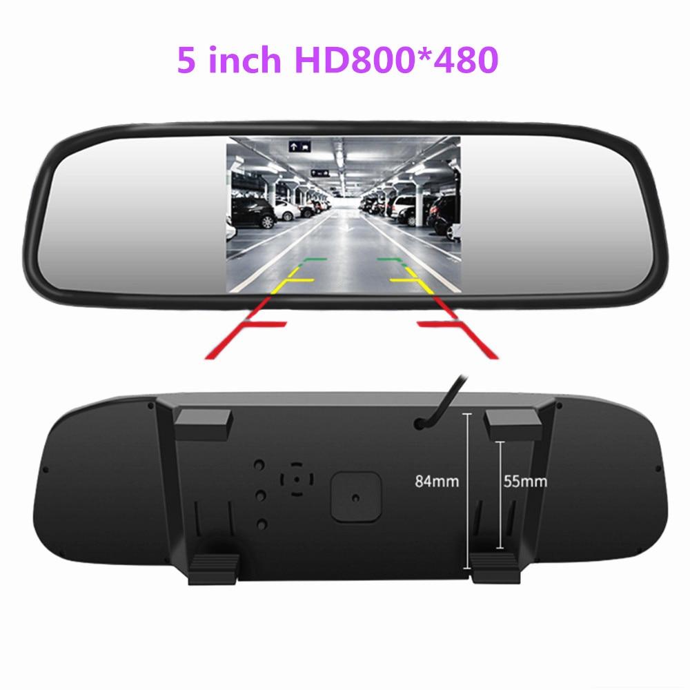 Автомобильный монитор с 5-дюймовым TFT ЖК-экраном HD800 * 480, зеркало заднего вида, парковочный монитор с 2 видеовходом, камера заднего вида на выб...