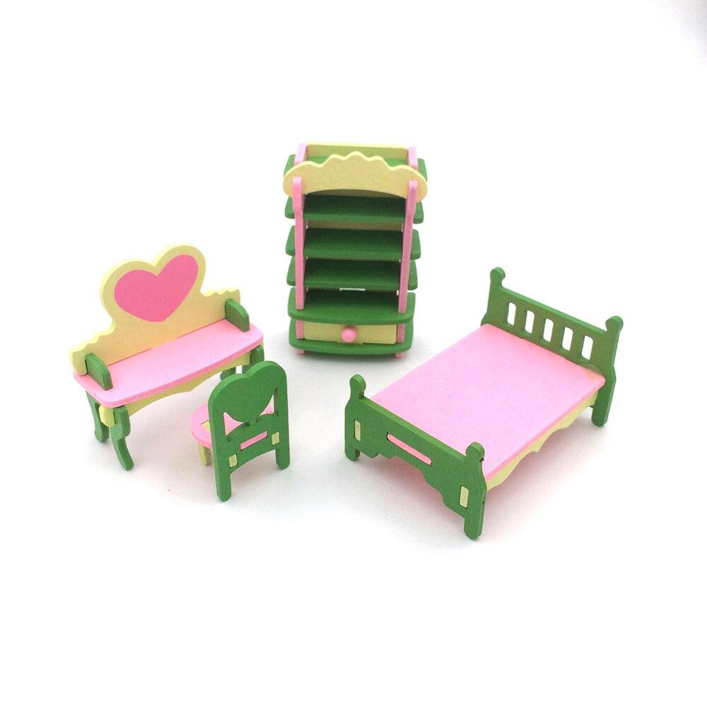 1:12 Poppenhuis Miniatuur Meubels Houten Meubels Speelgoed Bureau Kast Bed Stoel Set Voor Baby Kamer Poppenhuis Decor Elegante Verschijning