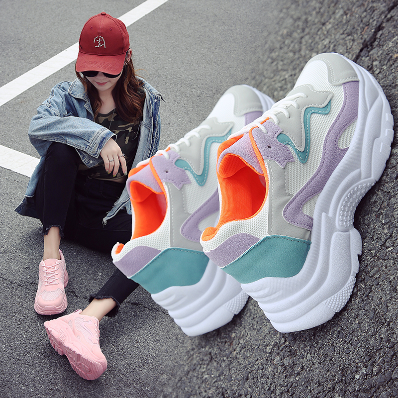 New 2018 Summer casual Women Sneakers Air mesh Breathable shoes Flat platform casual shoes female Trainers white pink size 36-40 wonzom 2018 new arrival women breathable slip on flats casual shoes fashion air mesh summer quick drying female shoes size 34 40