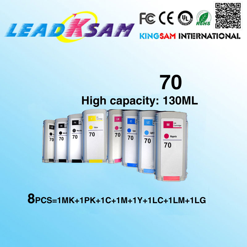8x compatible ink cartridge For hp70  replace for hp 70 Designjet Z2100 Z3100 Z3200 Z5200 130ml