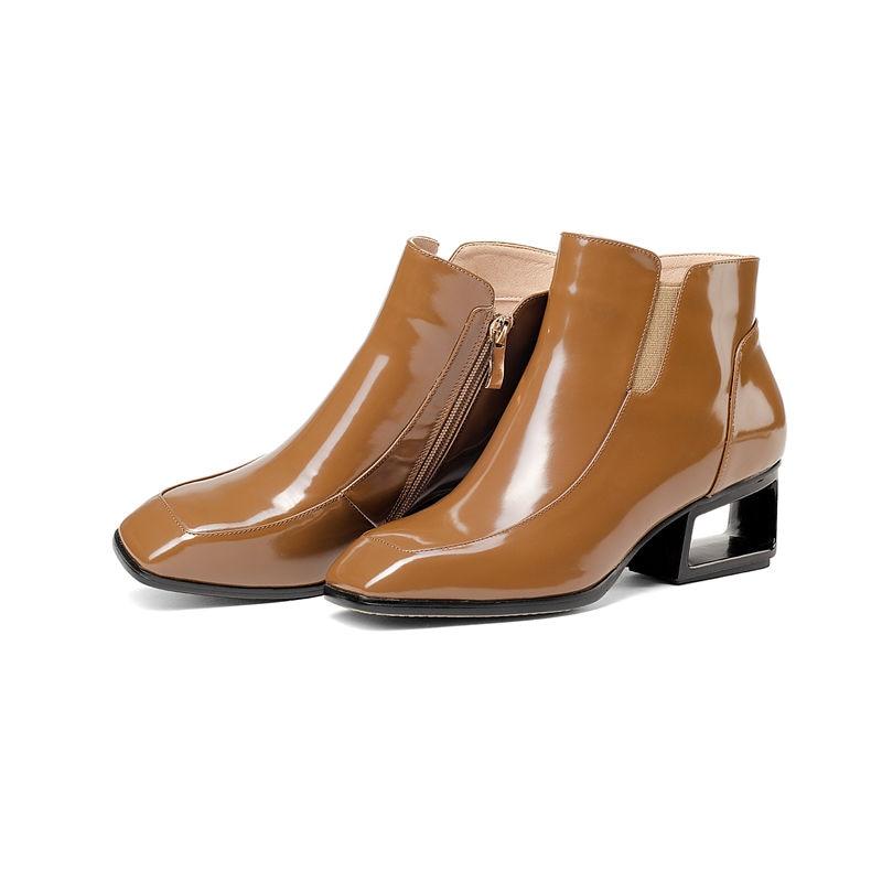 Femmes Véritable Cuir Cheville Haute 33 Noir Brown En Automne Qualité Top Bottes Grande 2018 Smeeroon 43 Hiver Mode Taille Talons dark z4OPqOI
